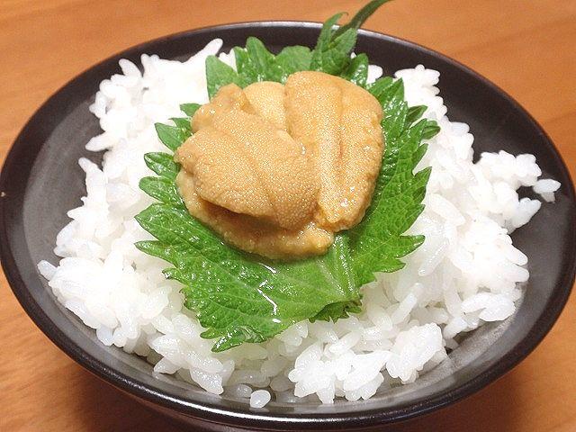 秋田産あきたこまちです。しその葉と新鮮なウニを炊きたてのあきたこまちにのせてどうぞ。